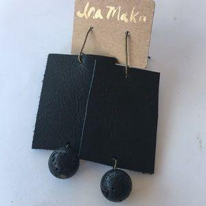 Leather Lava Stone Earrings